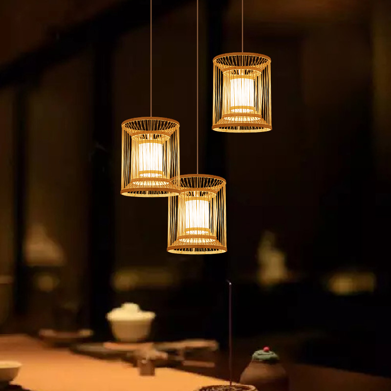 Japanese Chandelier Bamboo Weaving Zen In Southeast Asia Creative Personality Coffee Clothing Shop Dining Room Light Fixture