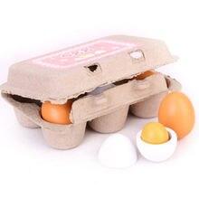 Детские развивающие игрушки 6 деревянных имитационных яиц Набор