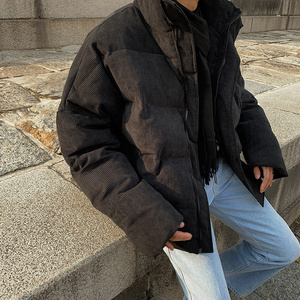 Image 1 - EWQ / Corduroy Loose Cotton padded Clothes for Male Grey And Black Short style Thickening Keep Warm winter males clothing Y0039