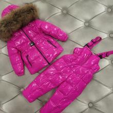 Russia winter new down jacket children big real fur collar thicken sets girls coats + pants 2pcs suits -30 degree ws1805 22