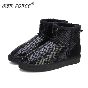 MBR FORCE Brand Hot Sale Women Snow Boots 100% Genuine Cowhide Leather Ankle Warm Winter Woman Shoes Size US 3-13 - discount item  59% OFF Women's Shoes