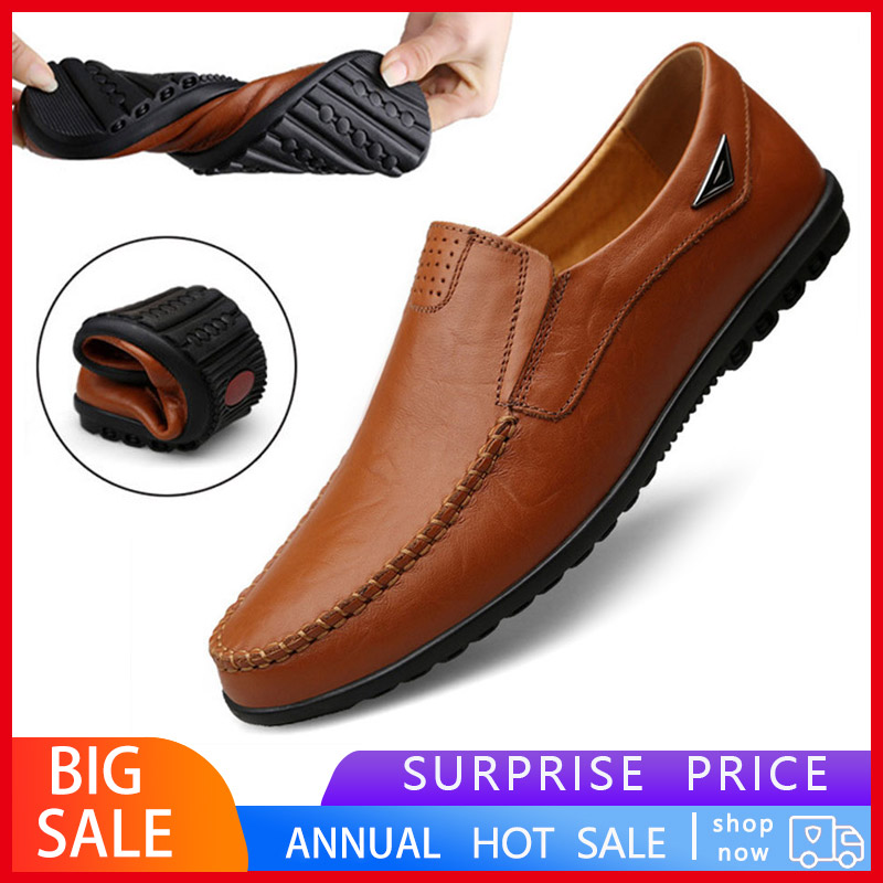2019 Men Shoes Casual Genuine Leather Shoes Men Comfortable Men Loafers Moccasins Breathable Slip Flats Driving Shoes Fashion