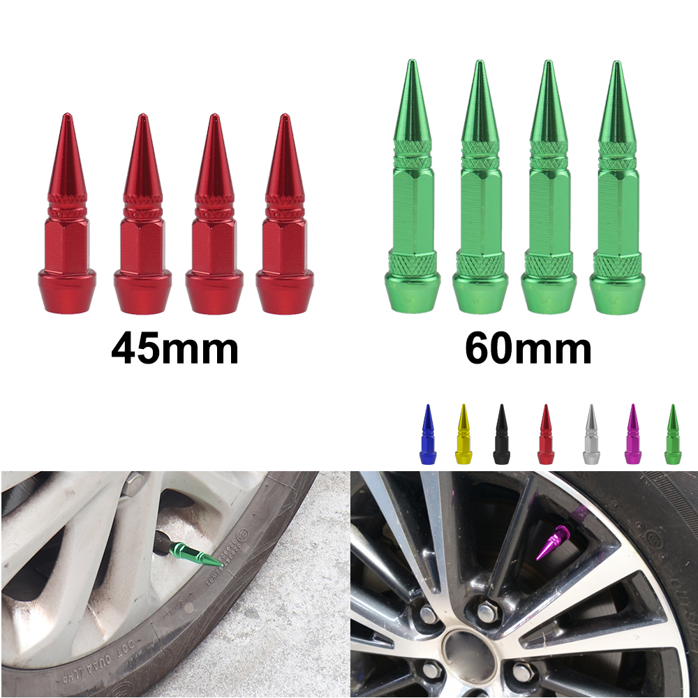 4Pcs Universal Aluminum Car Styling Tunning Car Tire Valve Stem Cap Spike Shaped Metal Dust Covers Lid For Bicycle Motorcycle
