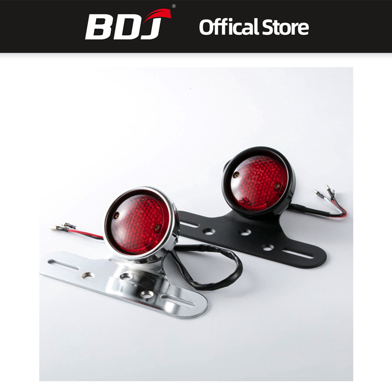 BDJ For Harley Cafe Racer Custom Chrome Universal Motorcycle Rear Red Led Tail Brake Stop Light Lamp