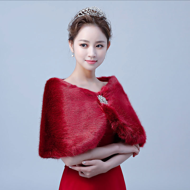 Cape Mariage 2020 New Short Style Fox Hair In Autumn And Winter With Bride's Wedding Dress Cape Cheongsam Female Han Wenliu