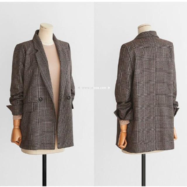 Spring Autumn Blazer Women  New Plaid Korean Jackets Long Sleeve Notched Vintage Casual Fashion Office Coats 2