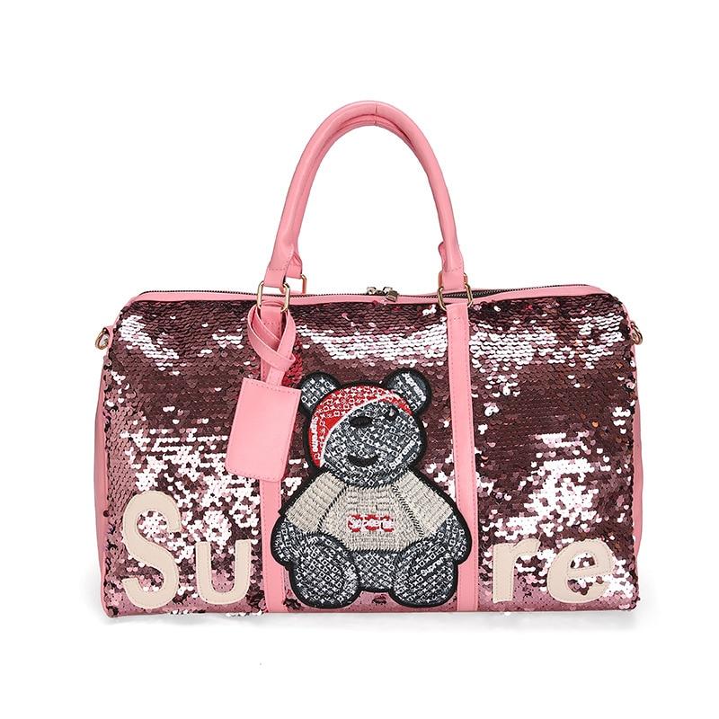 New Style Korean-style Handbag Badge Large Bag Fashion Cool Sequin Travel Bag Foreign Trade Wholesale Travel Storage Bag