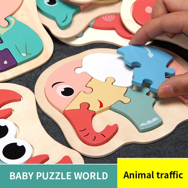 New 2020 Baby 3D Wooden Puzzle Educational Toys Early Learning Cognition Kids Cartoon Grasp Intelligence Puzzle