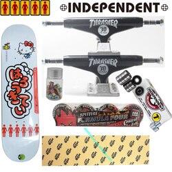 Conjunto completo de monopatín independiente con ruedas spitfire MOB grip cinta chica hello kitty skateboard rodamientos de buena calidad