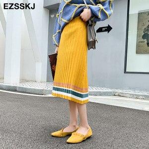 Image 3 - Jupe plissée pour femmes, taille élastique, nouvelle collection 2019, automne hiver, collection décontracté