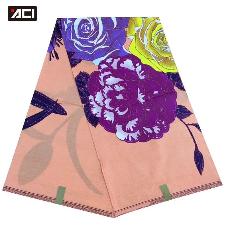 ACI 2019 tissus de cire africaine véritable cire de haute qualité Tissu Africain coton 6 Yards/pièce tissus Ankara africains pour mariage