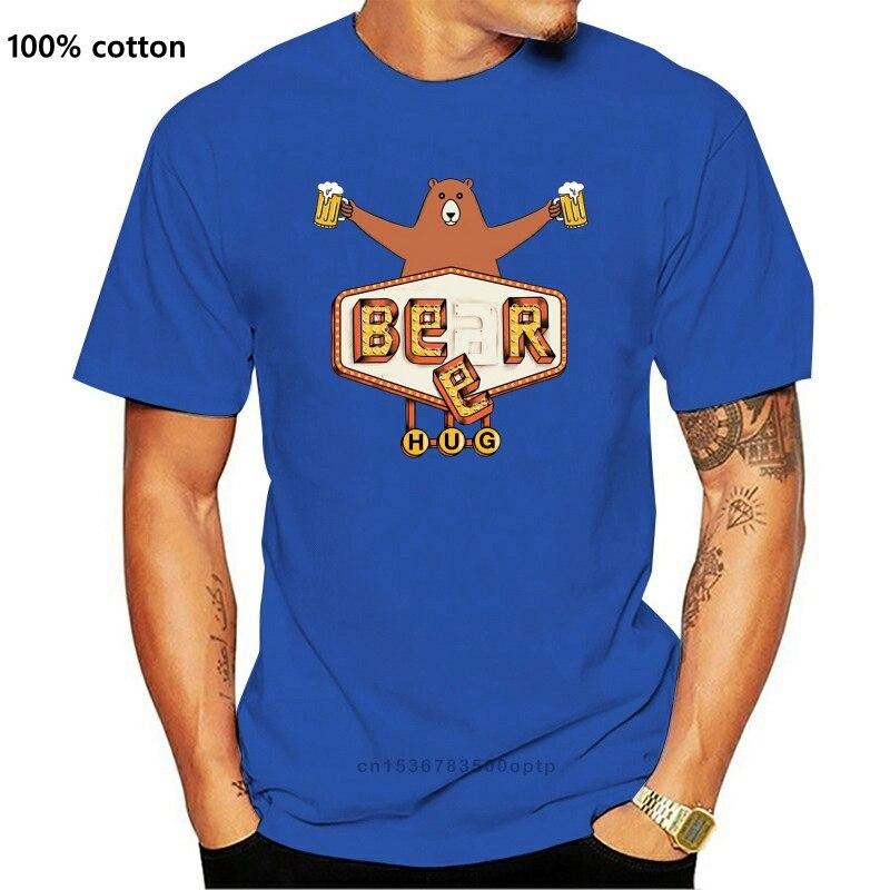 Медведь или пива футболки Простой с короткими рукавами хлопковая Футболка 100% Удобные Хлопковые футболки размера плюс футболки мужские