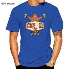 Urso ou cerveja t camisas simples de manga curta 100% algodão confortável t camisas mais tamanho t camisas dos homens