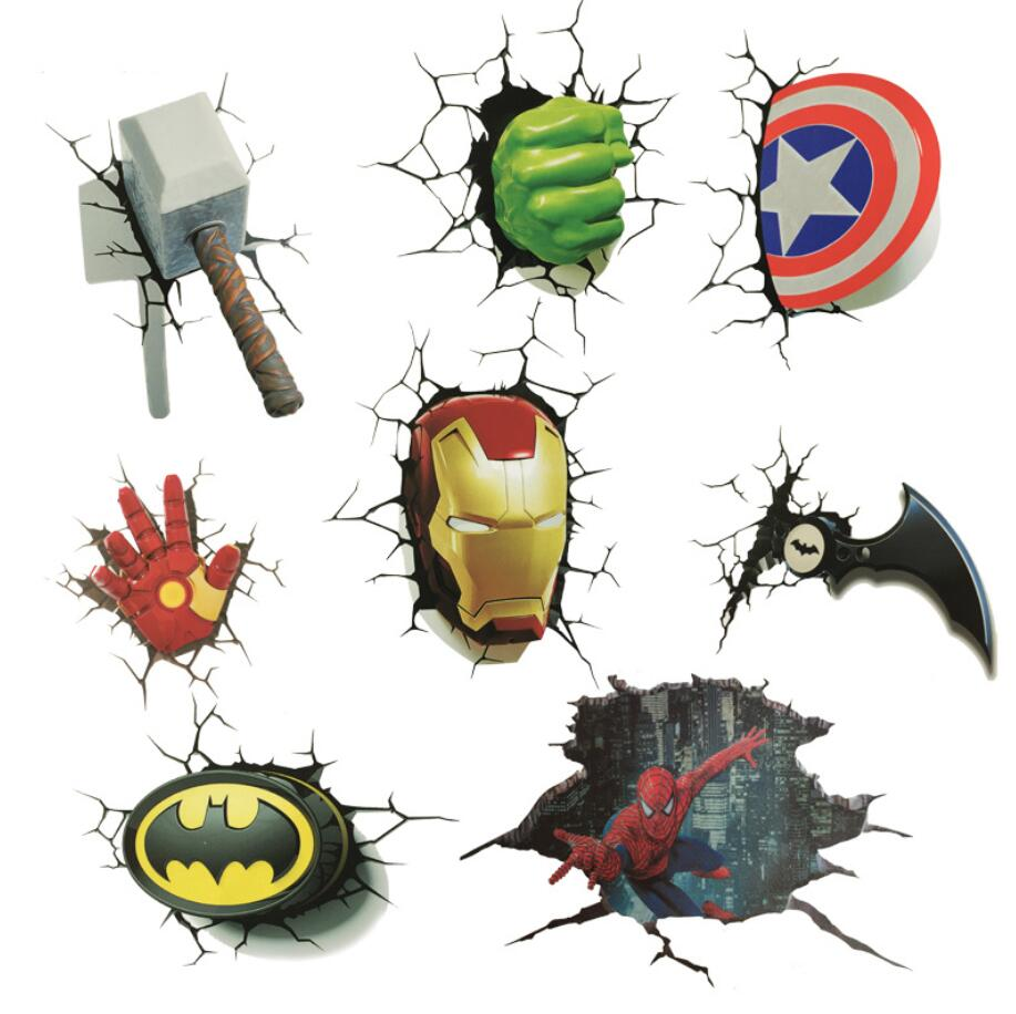 Marvel Avengers Stickers 3d DC Car Decals Iron Man Captain Batman Hulk Thor Hammer Car Stickers Creative Stickers Decoration