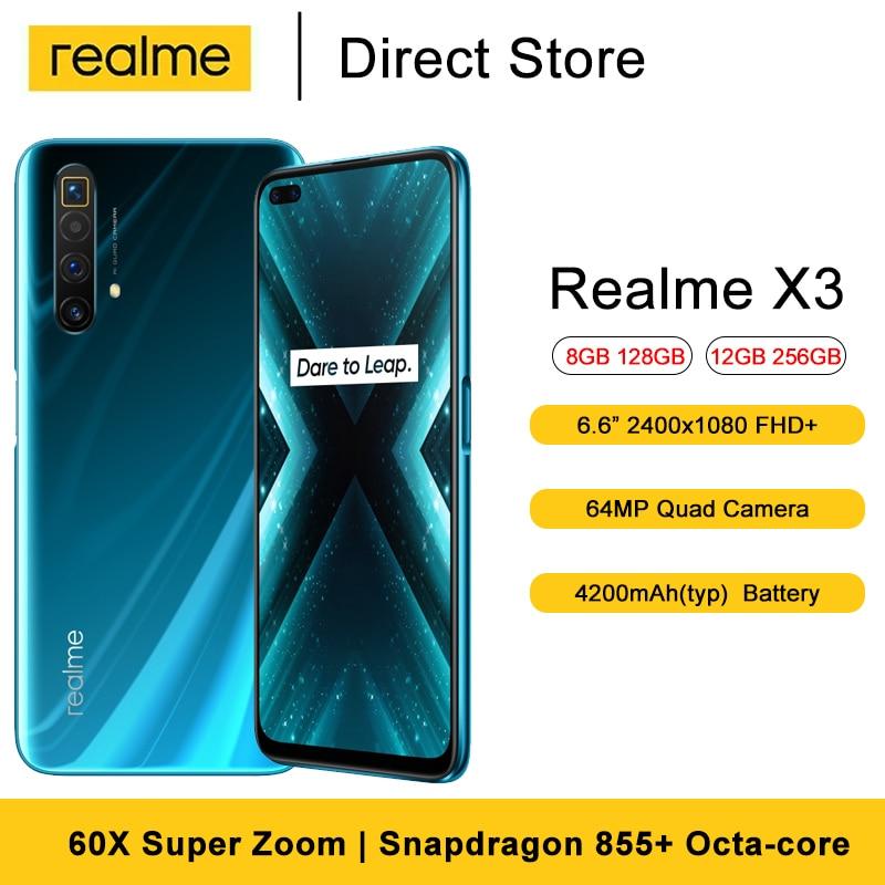 Realme için X3 cep telefonu 6.6 tam ekran Snapdragon 855 + sekiz çekirdekli 64MP Quad kamera 60X süper Zoom 4200mAh Android akıllı telefonlar