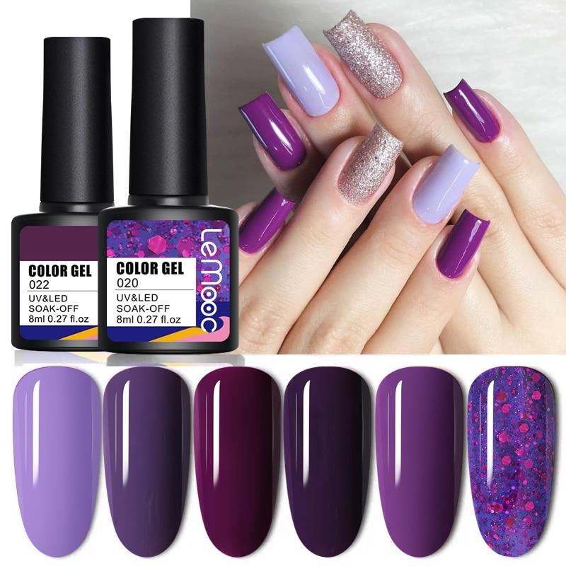 LEMOOC лак для ногтей Гель-лак 8 мл фиолетовый Serise гель Лаки NoWipe нужно УФ светодиодный основа верхнее пальто био-Гели Soak Off УФ светодиодный гель ...