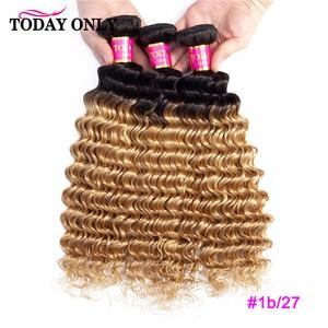 Image 2 - TODAY ONLY 1/3/4 Bundles Brazilian Hair Weave Bundles Burgundy Blonde Deep Wave Bundles Ombre Human Hair Bundles 1b/30 Remy Hair