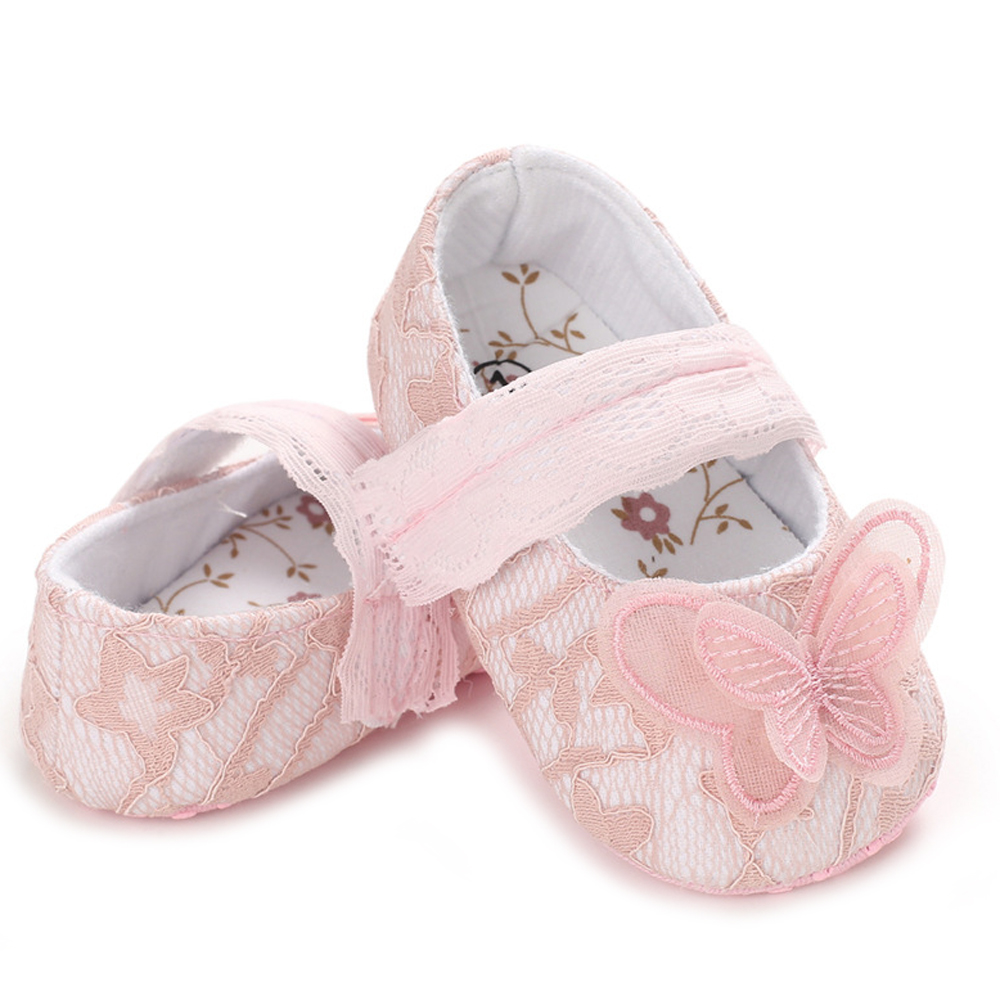 0-18M Toddler Newborn Baby Girl Shoes Cute Lace Butterfly Crib Shoes Anti-slip Soft Princess Baby Girl Shoes