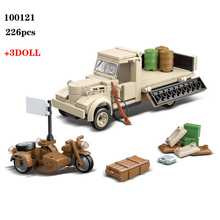 226PCS Military Japanese 180 Truck Building Blocks WW2 Military Army Soldier Figures Weapon parts Bricks Toys for Children Gift ww2 japanese army type 98 soldier uniform sets jacket