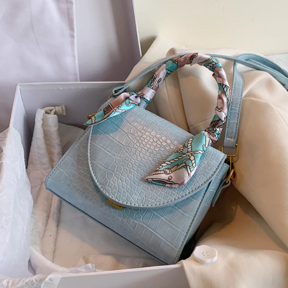 Elegant Female Ribbon Tote Bag 2020 New High-quality Leather Women's Designer Handbag Crocodile Pattern Shoulder Messenger Bag