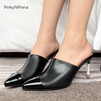 designer style fashion women genuine leather high heels pearls mules pumps pinted toe sheepskin insole party holiday slippers
