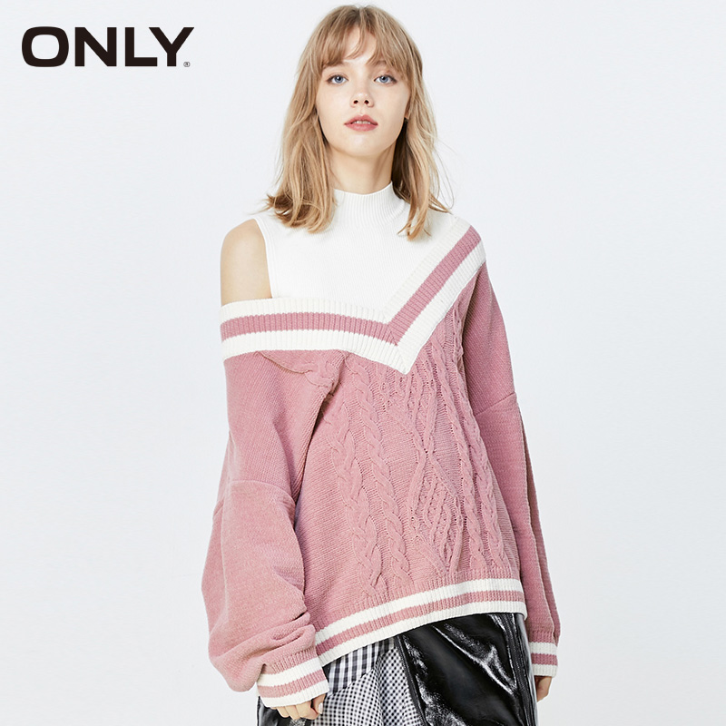 ONLY Winter Loose Fit Fake Two-piece Mock Neck Pullover Sweater  | 119313538