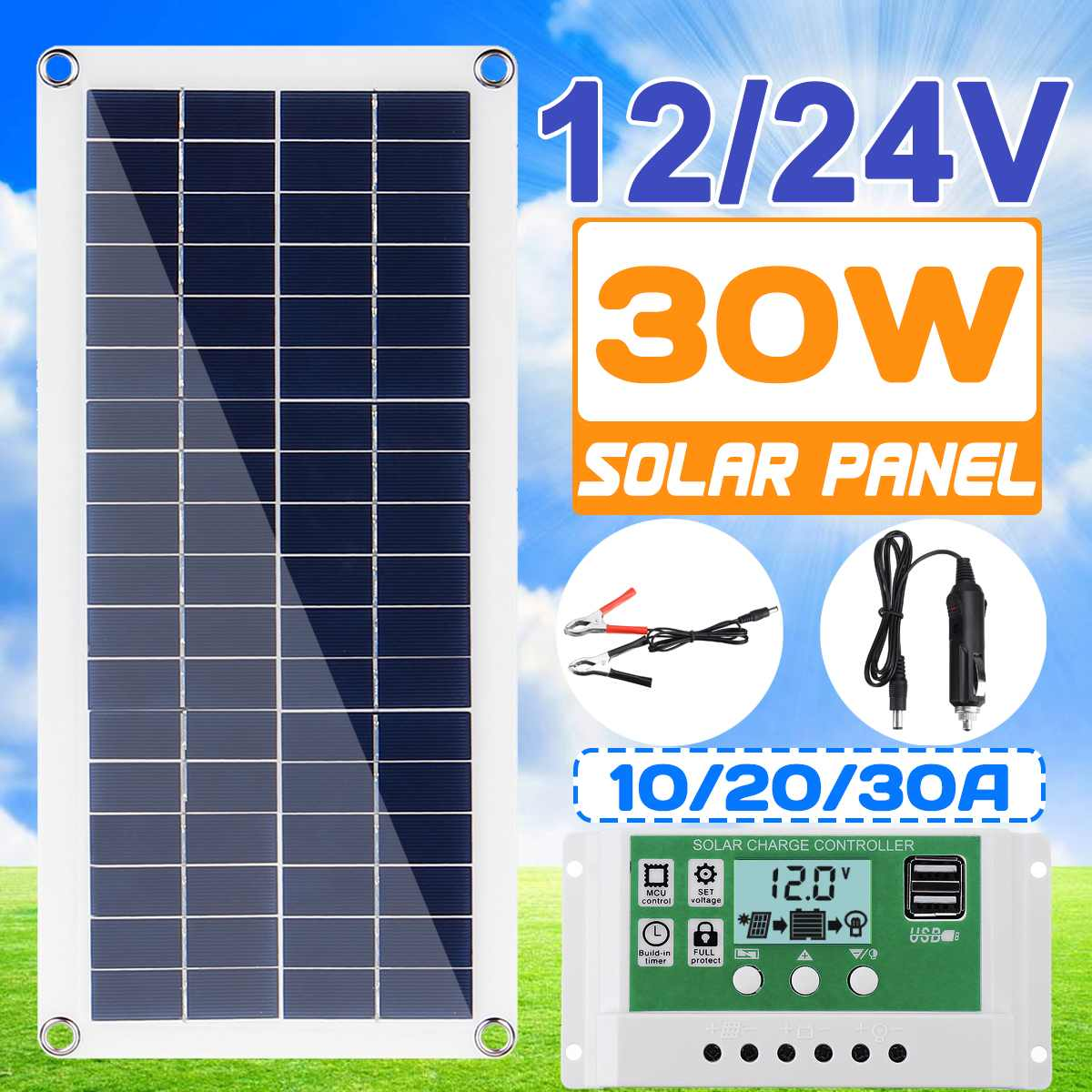 12/24V 30W/50W Flexible Solar Panel 10A-30A Controller Car Charger For RV Car Boat LCD Display PWM Solar Panel Charge Controller