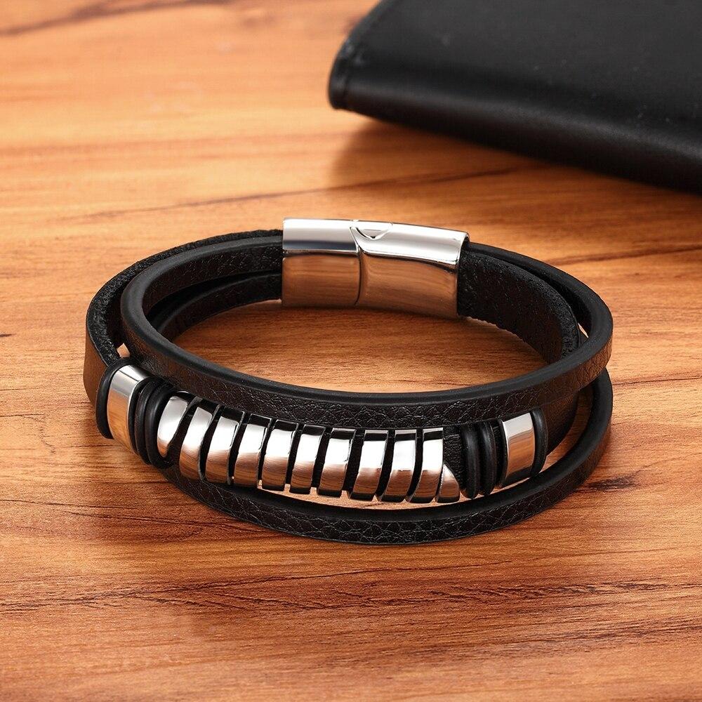 Bracelet en acier inoxydable en cuir multi-couche  2