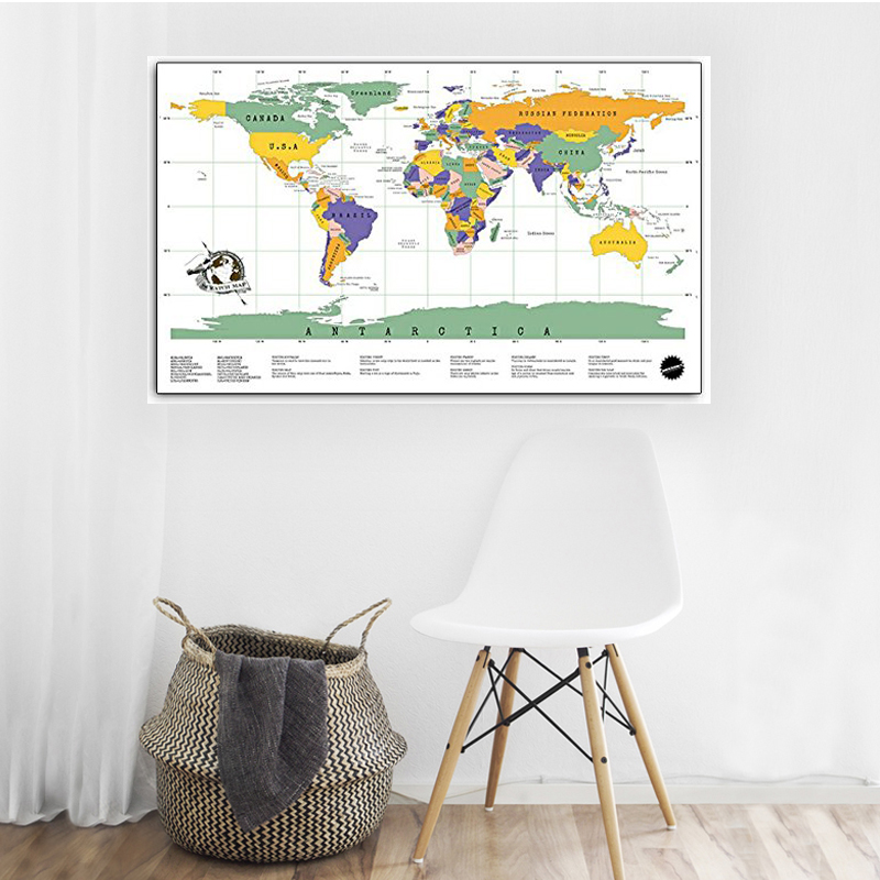 Big Size Scratch Map Deluxe Scratch Off  World Travel Map Gold Foil Layer Coating Personalized Gift Wall Sticker Home Decoration
