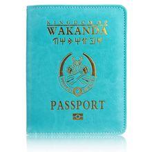 TRASSORY RFID Blocking Wakanda Forever Panther Black Marvels The Avengers Leather Travel Passport Holder Cover Bag