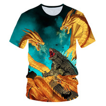 Newest Personality Printed Kid T Shirt Teens Fashion Film Godzilla Monster 3D Shirts Boys Girl Oversize Child