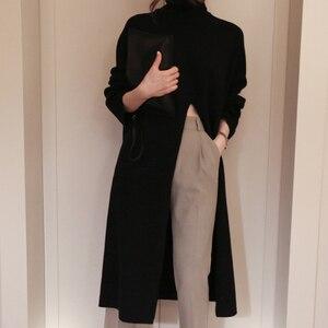 Image 3 - Deuxtwinstyle fendu noir pull femmes à manches longues col roulé hauts tricotés femme vêtements coréen 2020 hiver nouveau