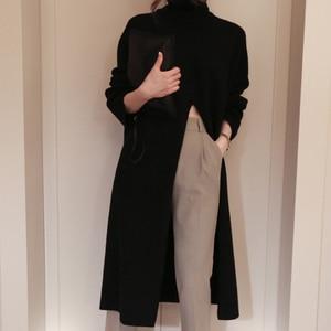 Image 3 - Женский вязаный свитер TWOTWINSTYLE, черный пуловер оверсайз с длинным рукавом и разрезом на осень