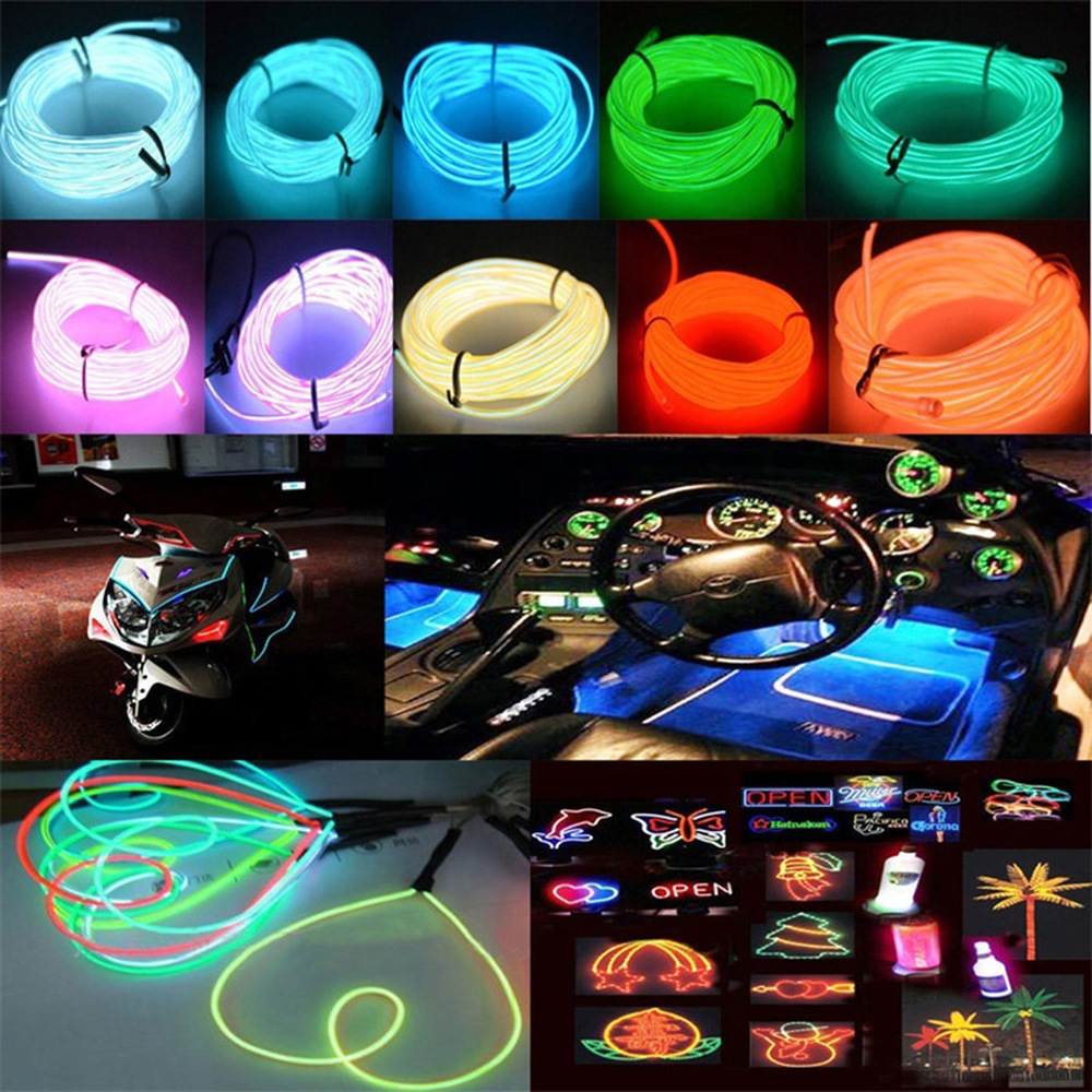EL Wire Neon Light Dance Party Holiday Decor Light Neon LED Lamp Flexible Waterproof 12V EL Wire Rope Tube LED Strip 1M/2M/3M/5M