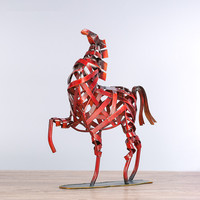 Metal Weaving Jump Horse Statuette Red Iron Art Sculpture Figurine Modern Home Decoration Accessories Animal Craft Gift M4238