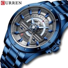 CURREN sukienka ze stali nierdzewnej kwarcowy zegarek dla mężczyzn Watchs formalna okazja męska Wrist Watch Bussiness najnowsza konstrukcja duża tarcza 8381 tanie tanio 24cm Biznes QUARTZ 3Bar Bransoletka zapięcie CN (pochodzenie) Ze stopu 12mm Hardlex Papier 46mm C-8381 24mm ROUND Odporne na wodę