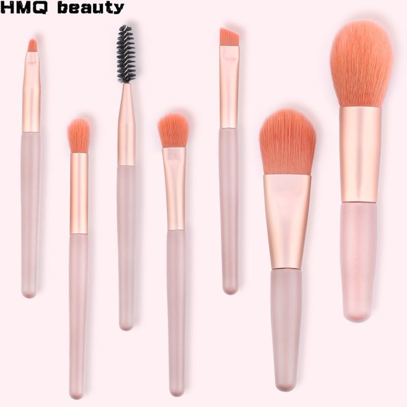 Mini Makeup Brush 7Pcs/Set Foundation Blush Eyeshadow Mixed Eyelashes Eyebrow Brush Professional Beauty Cosmetic Tools 4Colors