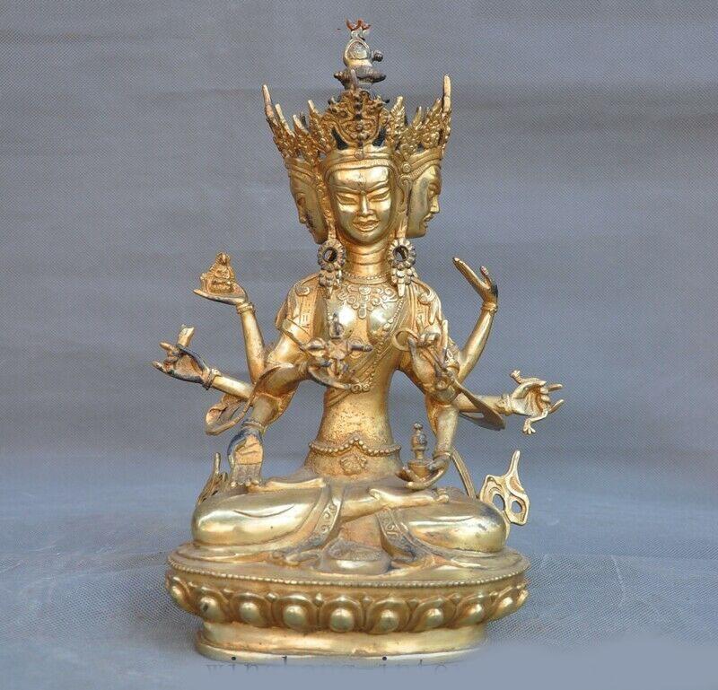 Wedding Decoration Tibet Bronze 24k Gold Gilt 3 Head 8 Arms Namgyalma&Ushnishavijaya Buddha Statue