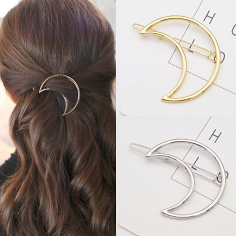 Fashion Simple Hollow Gold Moon Hair Clips For Women Hair Accessories Punk Jewelry Hairpins Girls Barrette Pince Cheveux Femme