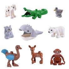 Diy tamanho grande blocos de construção acessórios animais macaco girafa pato compatível com crianças tijolos brinquedos presentes para o presente das crianças