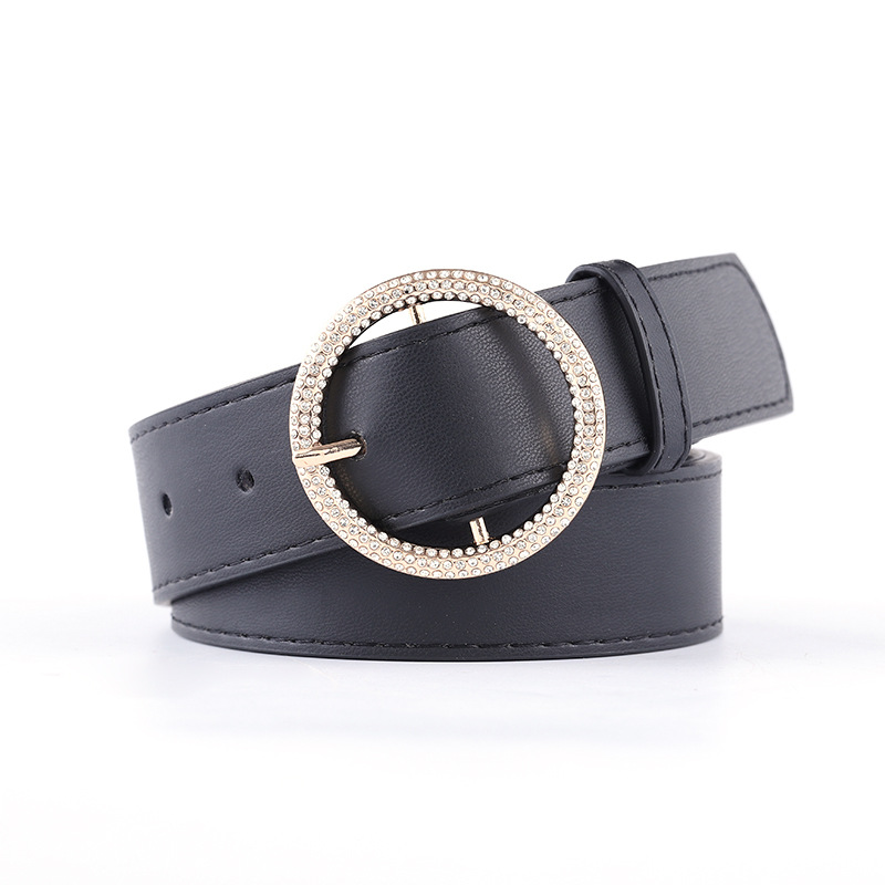 1PC Women Faux Leather Belt Jeans Belts for Women Dresses with Retro Rhinestone Pearl Round Buckle Black