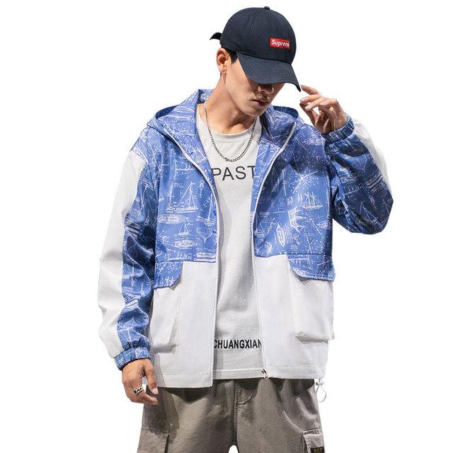 Autumn New Tooling Jacket Men Fashion Printing Casual Hit Color Hooded Jacket Man Streetwear Hip Hop Loose Bomber Jacket M-2XL