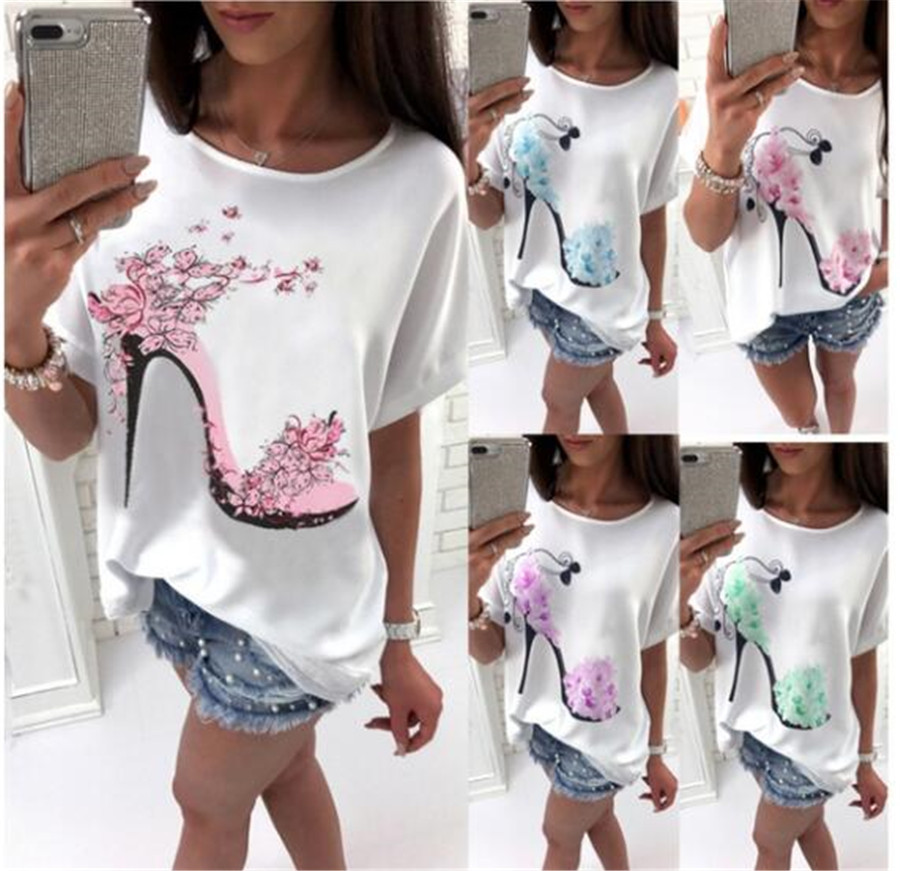 Women's T-shirt Solid Cotton Linen Short Sleeve High Heels Printed Tops Beach Fashion Tops
