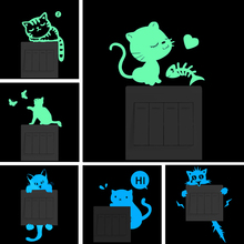 Luminous Cute Cat Wall Sticker for kids rooms home decor living room bedroom decoration decal Glow in the dark DIY Stickers bedroom wall decor deer wall stickers for kids rooms door stickers muraux home living room house decoration accessories