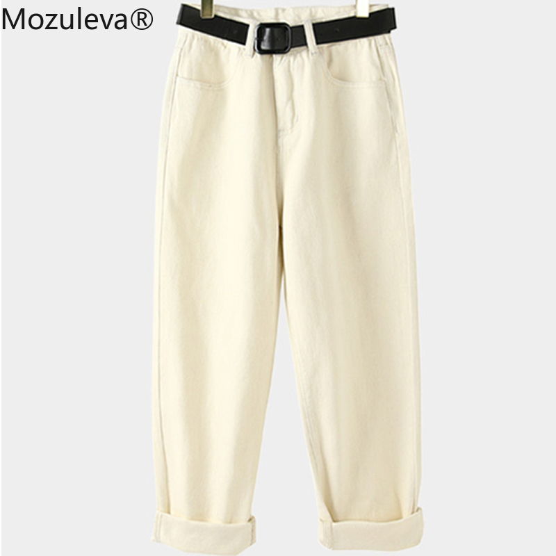 Mozuleva Spring Warm Thicken Velvet Female Jeans Pants High Waist Sashes Pockets Straight Women Loose Denim Pants Capris 2020