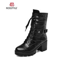 цена на ROSSTYLE Handmade Woman Winter Ankle Boot Luxury Genuine Leather Round Toe High Square Heel Shoes Solid Lace-up Buckle Boots