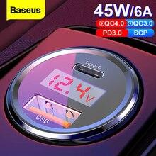 Baseus LED 6A Sạc Nhanh Quick Charge 4.0 3.0 Cổng USB Sạc Cho Xiaomi Mi 9 Huawei P30 Pro QC4.0 QC3.0 Nhanh PD Sạc Xe Hơi Sạc Điện Thoại