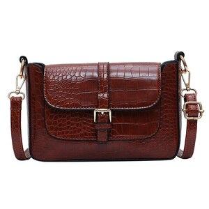 Image 5 - حزام مصمم بولي Leather حقائب جلدية Crossbody للنساء 2020 الكتف حقيبة بسيطة سيدة حجر نمط حقائب السفر ومحفظة