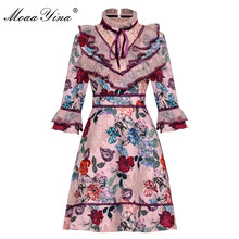 MoaaYina Fashion Designer Runway dress Spring Summer Women Dress Stand collar Mesh Ruffles Floral-Print Dresses цены