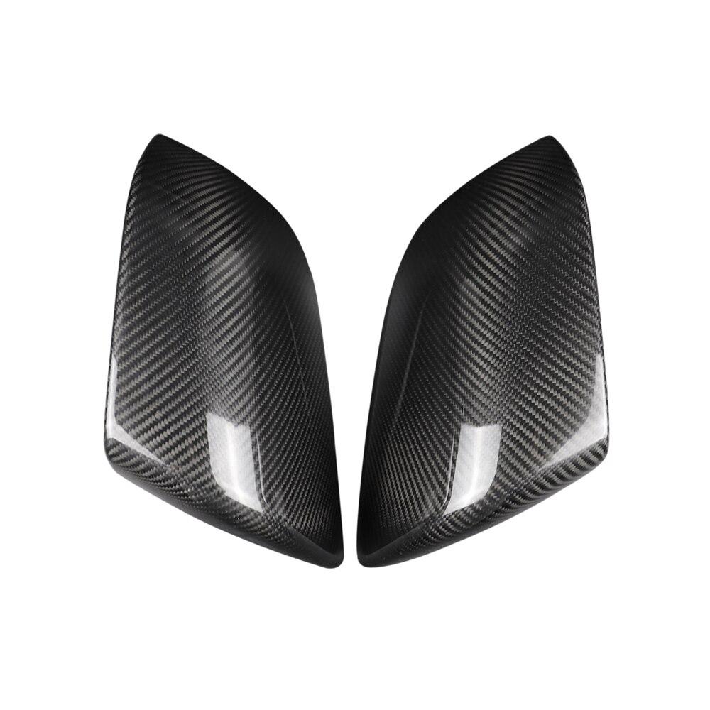 Купить с кэшбэком Dry Carbon Fiber Exterior Decoration Side Mirror Rearview Mirror for Tesla Model 3 2018-2019 2pcs Stylish Car Decals Accessories